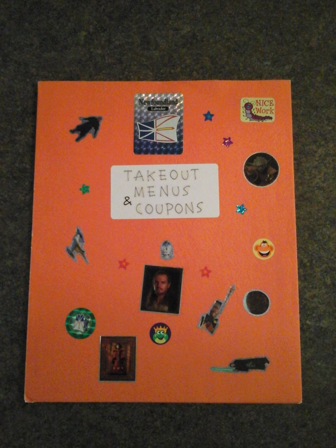 Front of takeout menu folder