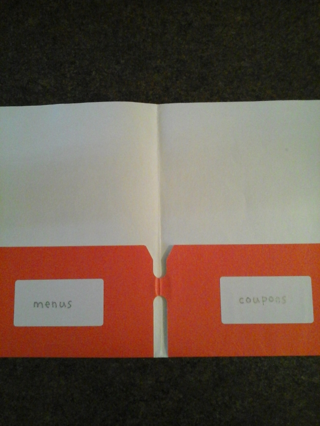 Labeled pockets of takeout folder