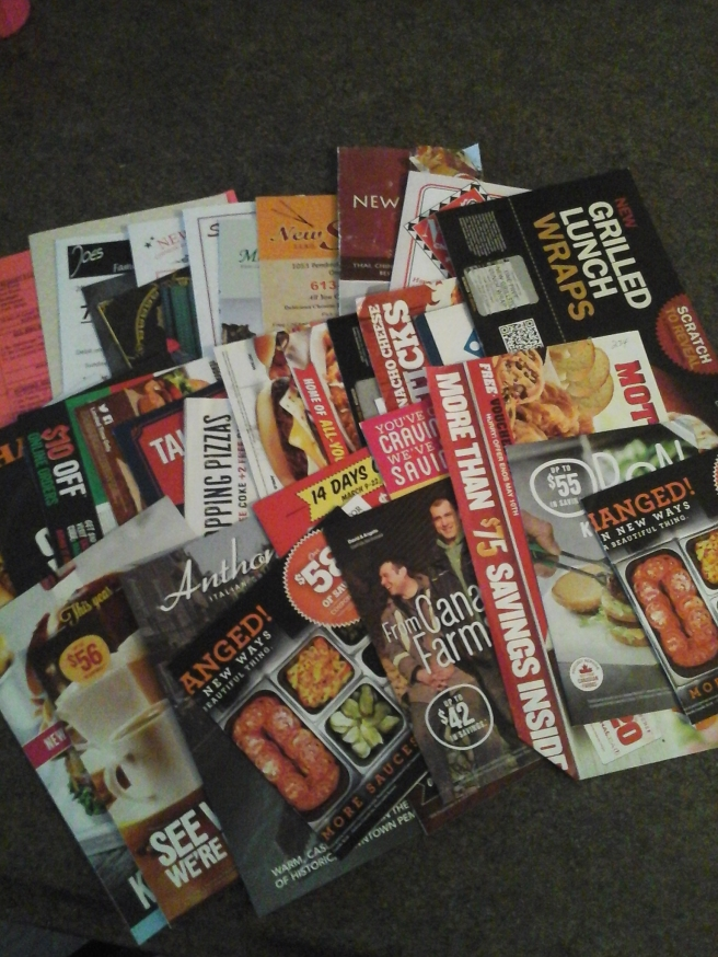 Pile of takeout menus and coupons