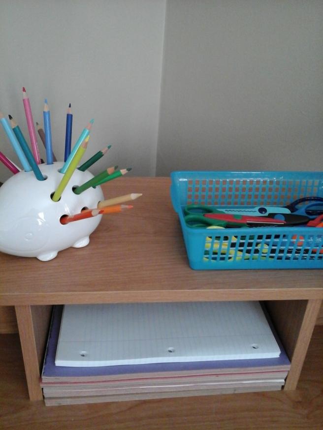 Pencil holder, craft scissors and paper