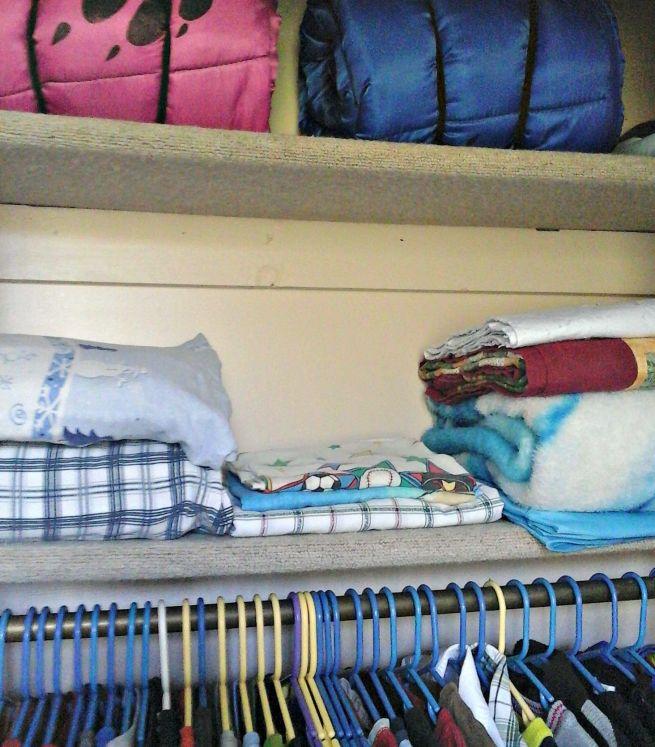 Bedroom closet linen storage