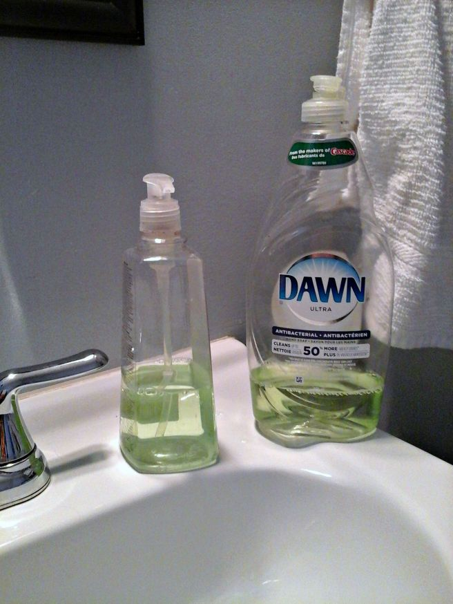 Dishsoap in the bathroom