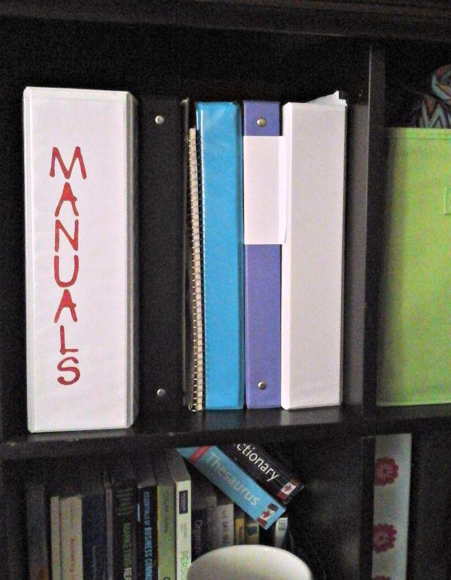 manuals binder spine label
